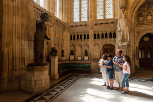 Houses of Parliament, Members Lobby. House of Lords Chamber. Image courtesy of UK Parliament