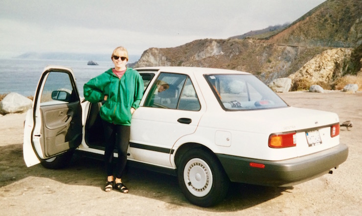 That's me in my twenties, driving the Pacific Coast Highway as a newly qualified driver. Eeek! Copyright Gretta Schifano