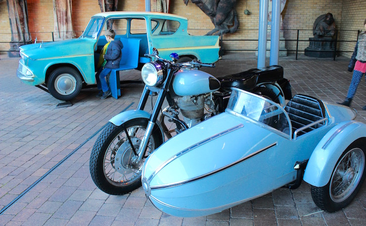 Hagrid's motorbike & Mr Weasley's flying car, Warner Bros Studio Tour. Copyright Gretta Schifano