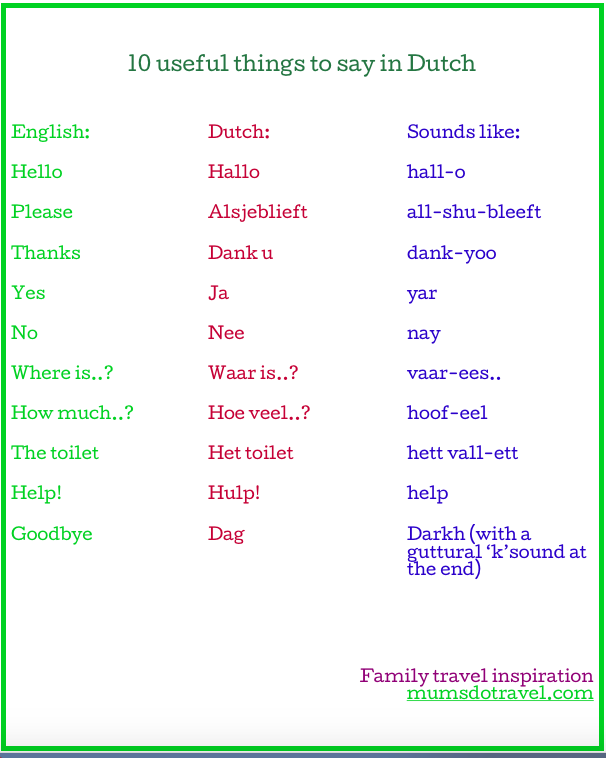 10 useful things to say in Dutch printable