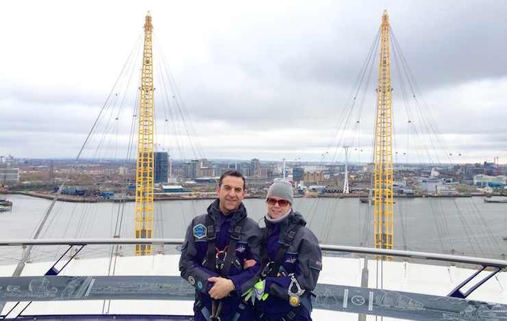 Schifanos at the top of London's O2. Copyright Gretta Schifano