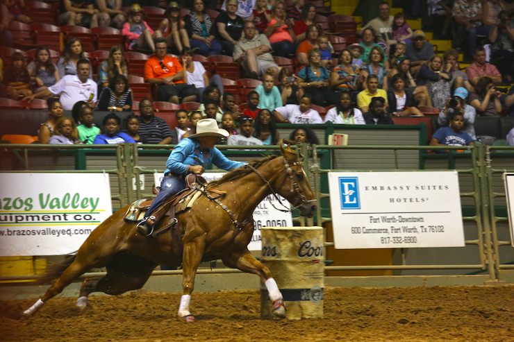 Stockyards Championship Rodeo Barrel Racing. Image courtesy of Visit Fort Worth