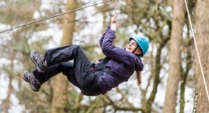 Gretta Schifano failing the high ball challenge, Forest of Dean. Copyright David Broadbent