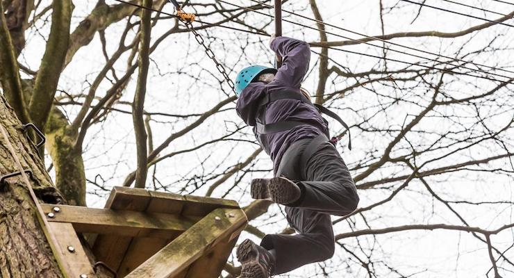 Gretta Schifano on the leap of faith challenge, Forest of Dean. Copyright David Broadbent
