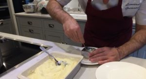 Preparing creamed cod fishcakes. Copyright Gretta Schifano