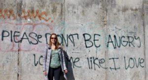 Gretta Schifano at the Berlin Wall Memorial. Copyright Izzy Schifano
