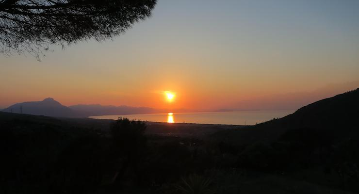 Sunset view from Villa Vittoria, Sicily. Copyright Lorenza Bacino