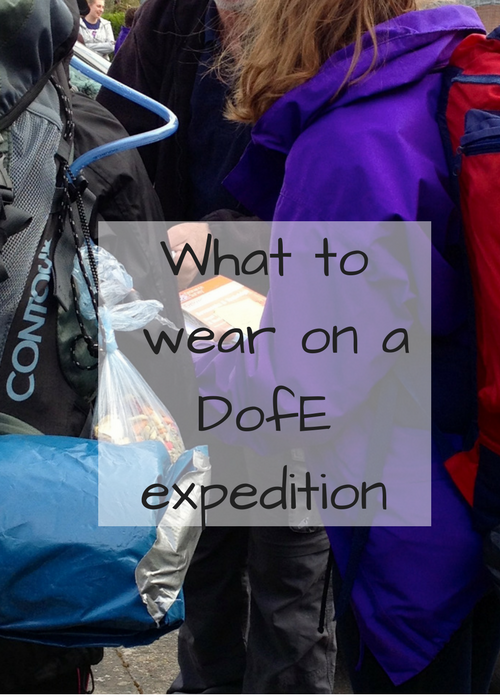 Tips for what to wear on a Duke of Edinburgh (DofE) expedition. DofE is a great thing for 14-24 year-olds to do and includes voluntary, sport and skill sections, as well as a team expedition. It's important to have the right kit for the expedition, especially boots, waterproof clothes and a rucksack.