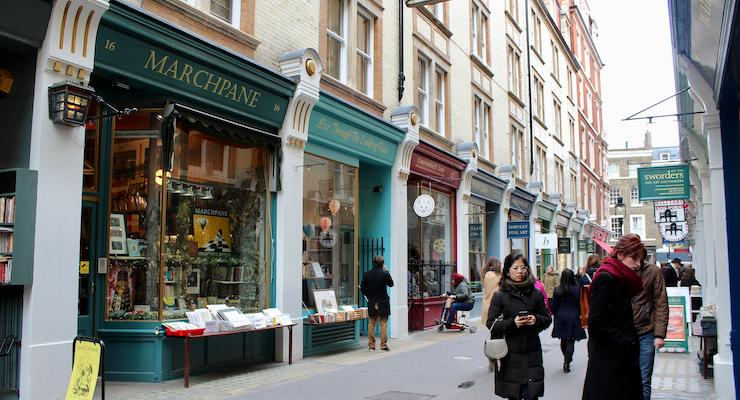 Cecil Court, London. Inspiration for Diagon Alley. Copyright Gretta Schifano
