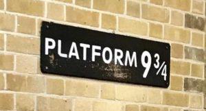 Sign for Platform 9 3:4, Kings Cross Station, London. Copyright Sal Schifano