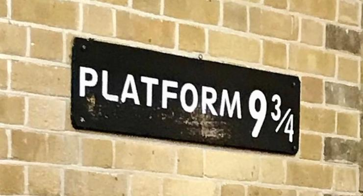 Sign for Platform 9 3/4, Kings Cross Station, London. Copyright Sal Schifano