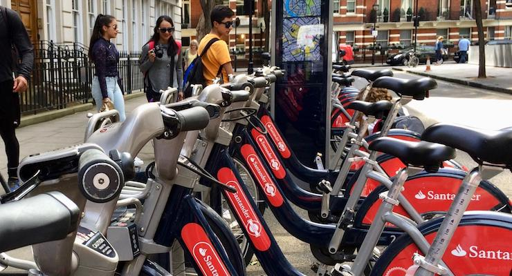 Santander Cycle docking station, London. Copyright Gretta Schifano
