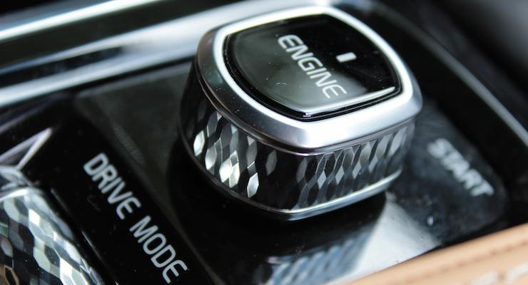 Crystal knob to start the engine on a Volvo V90. Copyright Gretta Schifano