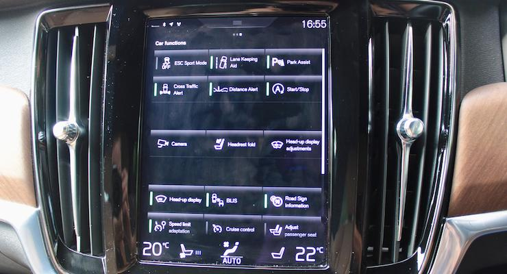 Touchscreen on a Volvo V90 D5 Inscription. Copyright Gretta Schifano