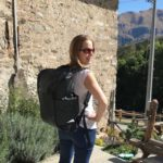 Gretta Schifano in the Italian alps with Booq Daypack. Copyright Sal Schifano