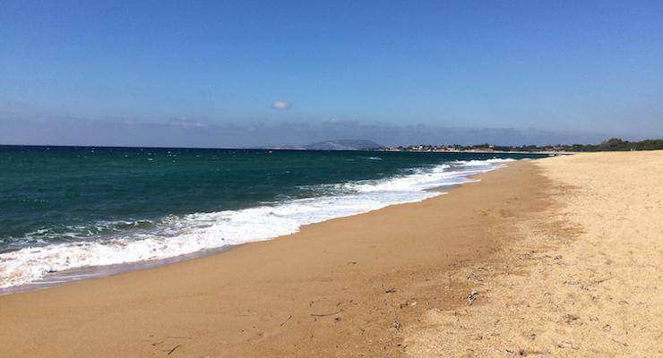 Beach, Costa Navarino. Copyright Gretta Schifano