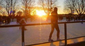 Sunset at Hampton Court ice rink, London. Copyright Cathy Winston, Mummytravels.com