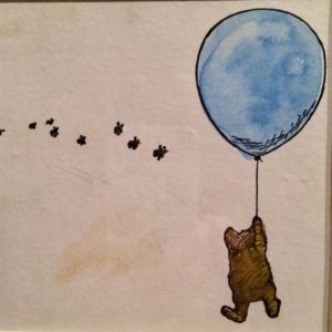Hand coloured proof, by E. H. Shepard, Winnie-the Pooh exhibition, V&A, London. Image copyright Gretta Schifano