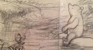 Part of original drawing, by E. H. Shepard, Winnie-the Pooh exhibition, V&A, London. Image copyright Gretta Schifano