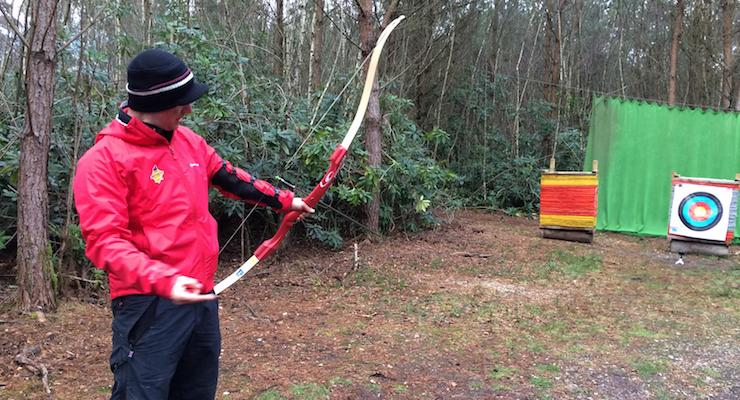 Sam of New Forest Activities teaching archery. Copyright Gretta Schifano