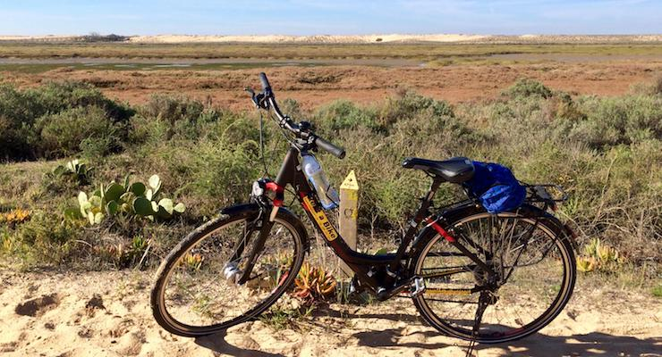Cycling in the Ria Formosa, Portugal. Copyright Gretta Schifano