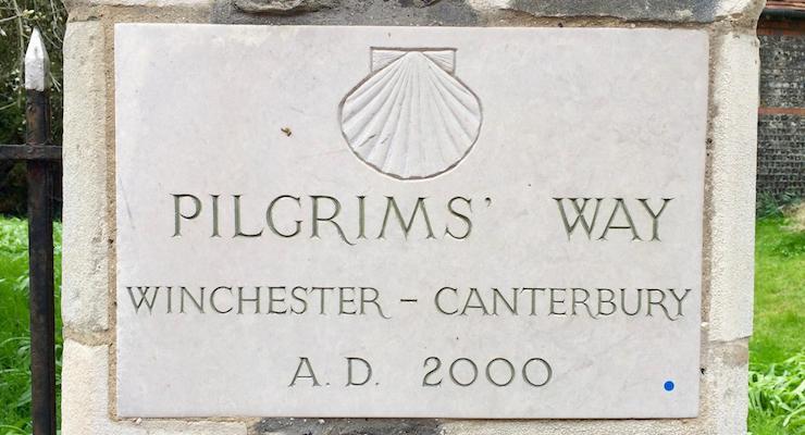 Pilgrims' Way sign, St. John's Church, Winchester. Copyright Gretta Schifano