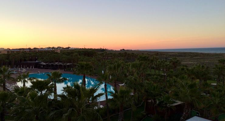 Sunset view from our room, Vidamar Resort Hotel, Algarve, Portugal. Copyright Gretta Schifano