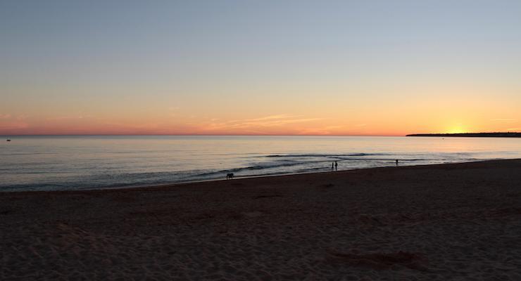Sunset from Os Salgados, Algarve, Portugal. Copyright Gretta Schifano
