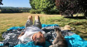 Sunbathing in the garden. Copyright Gretta Schifano