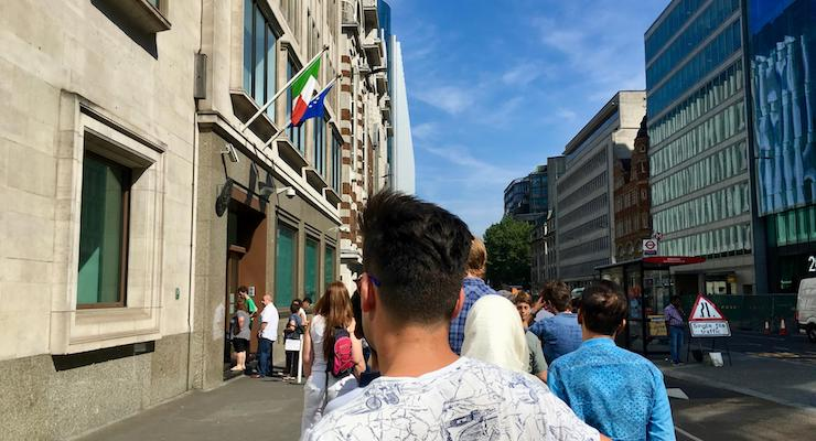Queueing at the Italian Consulate, London. Copyright Gretta Schifano