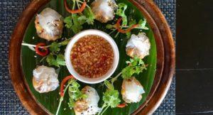 Mushroom dumplings, The Tongsai Bay. Copyright Gretta Schifano