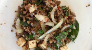 Stir fried spicy tofu with basil, Thai cooking class, The Tongsai Bay. Copyright Gretta Schifano