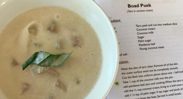 Taro in coconut cream, Thai cooking class, The Tongsai Bay. Copyright Gretta Schifano