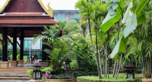Novotel Bangkok Suvarnabhumi Thai garden. Copyright Gretta Schifano