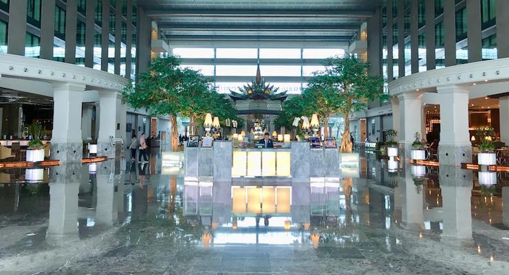 Novotel Bangkok Suvarnabhumi lobby. Copyright Gretta Schifano