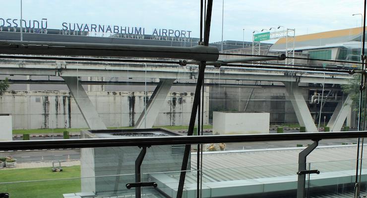 View of airport terminal from Novotel Bangkok Suvarnabhumi. Copyright Gretta Schifano