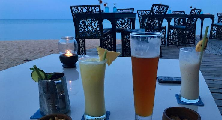Happy hour cocktails. The Tongsai Bay, Thailand. Copyright Gretta Schifano