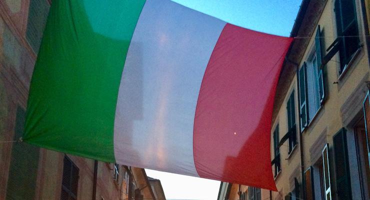 Italian flag, Cinque Terre, Italy. Copyright Gretta Schifano