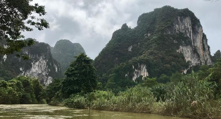 Canoeing on the Sok River, Thailand. Copyright Sal Schifano