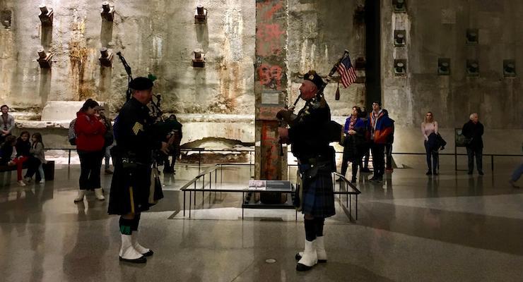 Bagpipers, National 9:11 Memorial & Museum, New York City. Copyright Gretta Schifano