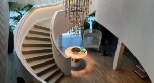 Stairs from spa to gym, Celebrity Edge. Copyright Gretta Schifano