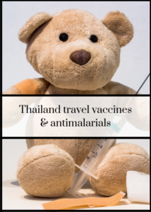 Which travel vaccines do you need for Thailand? And should you take antimalarials? I was wondering about this before our first visit to Thailand. I travelled around the country with my husband and our teenage kids, and before we went I researched the vaccines that we needed, and whether or not we should take antimalarial tablets. Click through to read the full article to see what our experience was and what we chose to do.