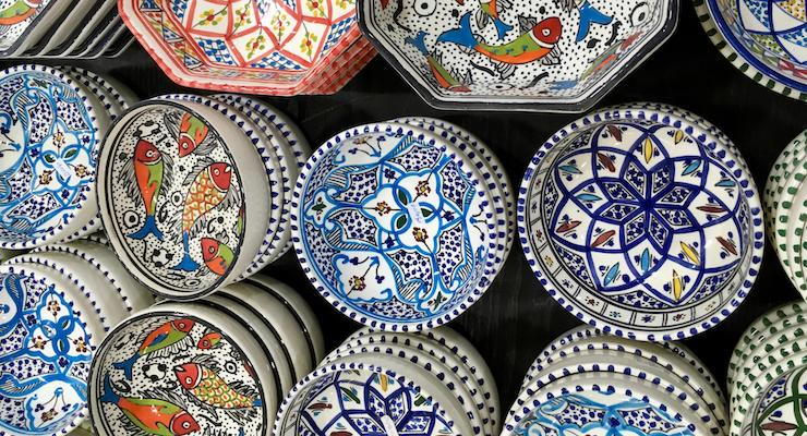 Ceramic bowls on sale in the souks, Tunis medina, Tunisia. Copyright Gretta Schifano