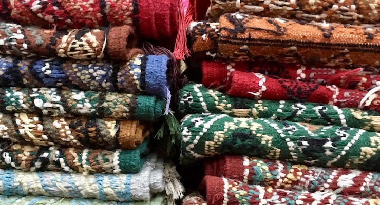 Handmade carpets in the souks, Tunis medina, Tunisia. Copyright Gretta Schifano