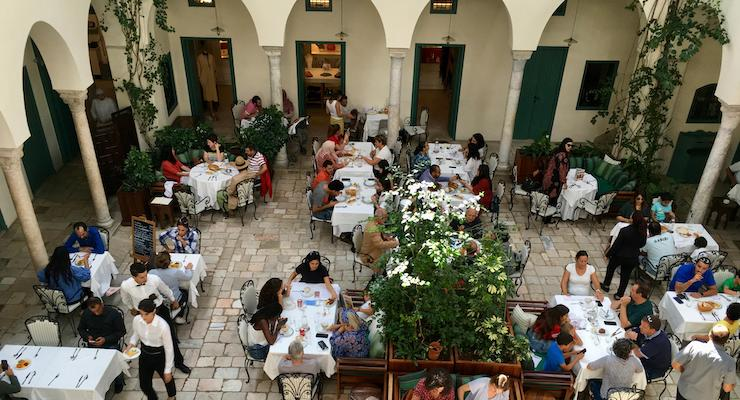 Lunch at Fondouk El Attarine, Tunis medina, Tunisia. Copyright Gretta Schifano