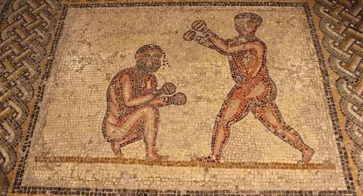 Roman mosaic of boxers, Bardo Museum, Tunisia. Copyright Gretta Schifano