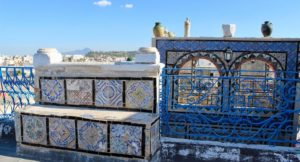 Rooftop terrace, Tunis souks, with views across the medina. Copyright Gretta Schifano