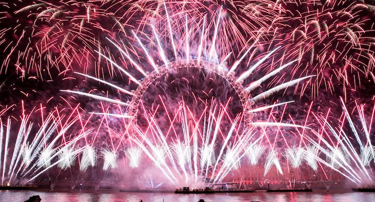 New Year's Eve fireworks, Embankment, London. Copyright Greater London Authority - Kois Miah