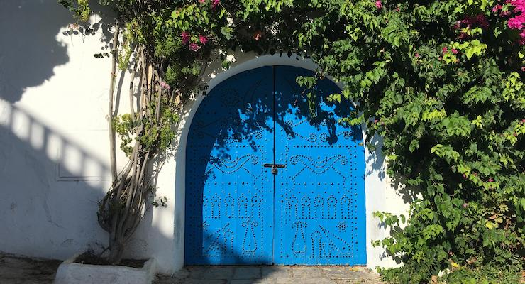 Sidi Bou Said door with flowers. Copyright Nichola West
