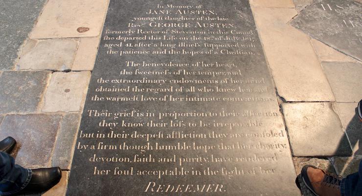 Jane Austen's grave, Winchester Cathedral. Copyright Gretta Schifano